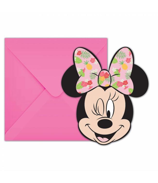 Procos Minnie Tropical Uitnodigingen - 6 stuks - Minnie Mouse feestartikelen