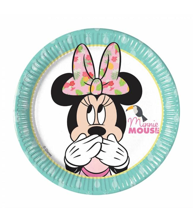Procos Minnie Tropical Bordjes - 8 stuks - Minnie Mouse feestartikelen