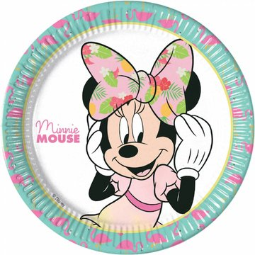 Procos Minnie Tropical Borden - 8 stuks - Minnie Mouse feestartikelen