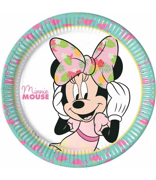 Procos Minnie Tropical Borden - 8 stuks - Minnie Mouse feestartikelen
