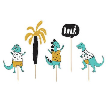 Partydeco Dinosaurus Cupcake Toppers - 5 stuks - Dino Feestartikelen