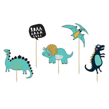Partydeco Dinosaurus Toppers - 5 stuks - Dino Feestartikelen