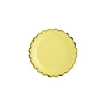 Partydeco Bordjes Geel & Goud - 6 stuks - 18 cm
