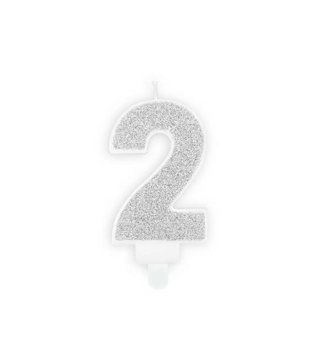 Partydeco 2 Jaar Kaarsje Zilver & Glitter - per stuk - 7 cm