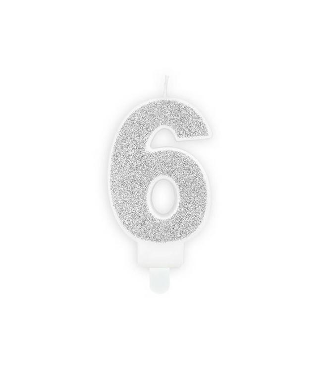 Partydeco 6 Jaar Kaarsje Zilver & Glitter - per stuk - 7 cm