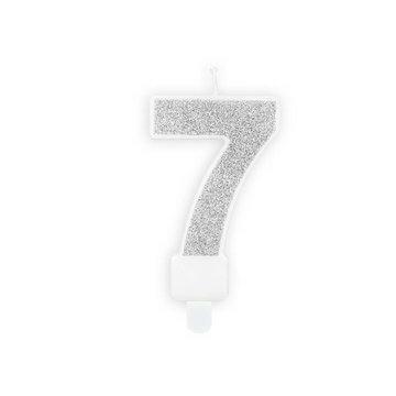 Partydeco 7 Jaar Kaarsje Zilver & Glitter - per stuk - 7 cm