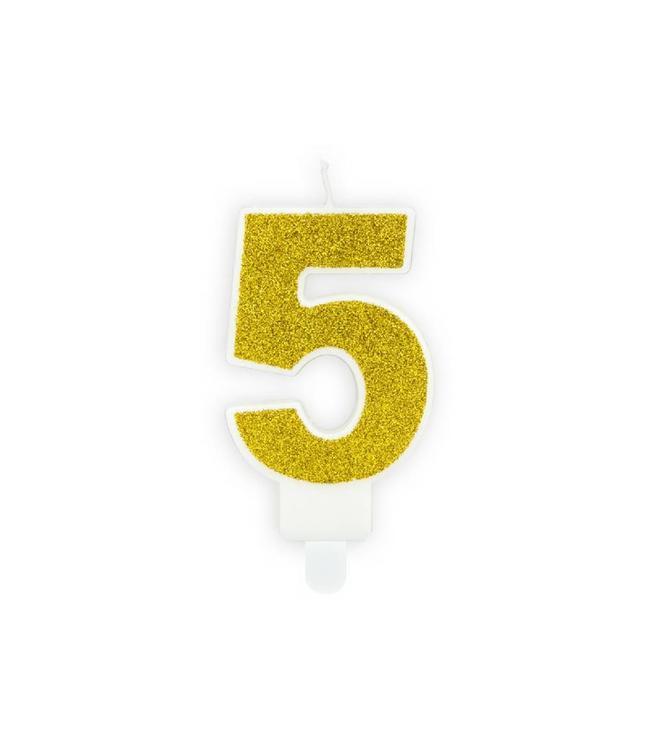 Partydeco 5 Jaar Kaarsje Goud & Glitter - per stuk - 7 cm