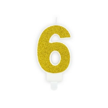 Partydeco 6 Jaar Kaarsje Goud & Glitter - per stuk - 7 cm