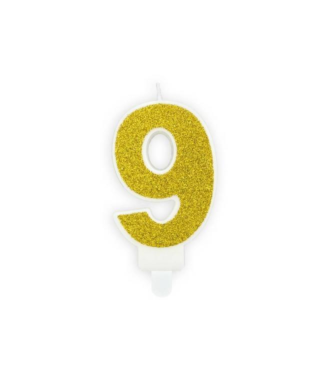 Partydeco 9 Jaar Kaarsje Goud & Glitter - per stuk - 7 cm