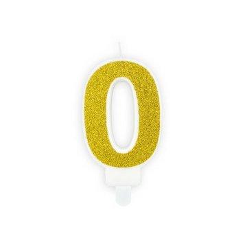 Partydeco Cijfer 0 Kaarsje Goud & Glitter - per stuk - 7 cm