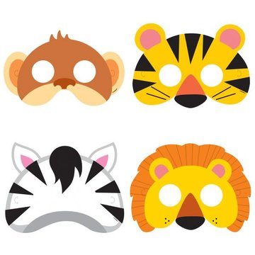 Unique Jungle Dieren Maskers - 8 stuks - 4 designs