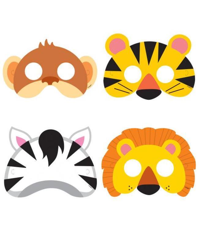 Unique Jungle Dieren Maskers - 8 stuks - 4 designs