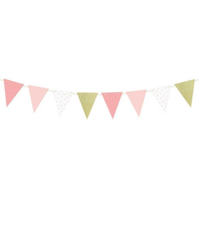 Partydeco ONEderful Vlaggenlijn Roze & Goud - per stuk