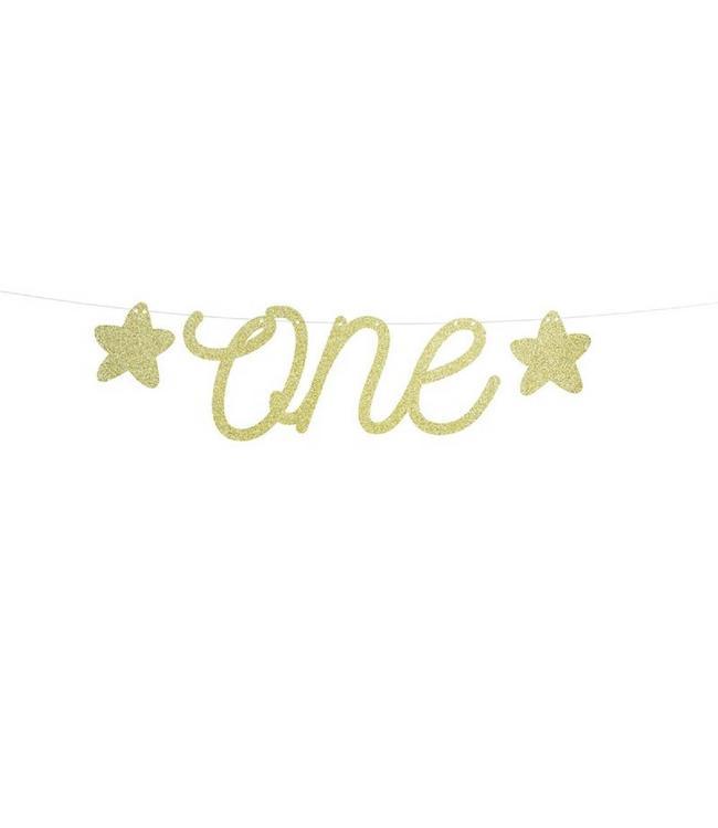 Partydeco ONEderful slinger 'ONE' goud - per stuk