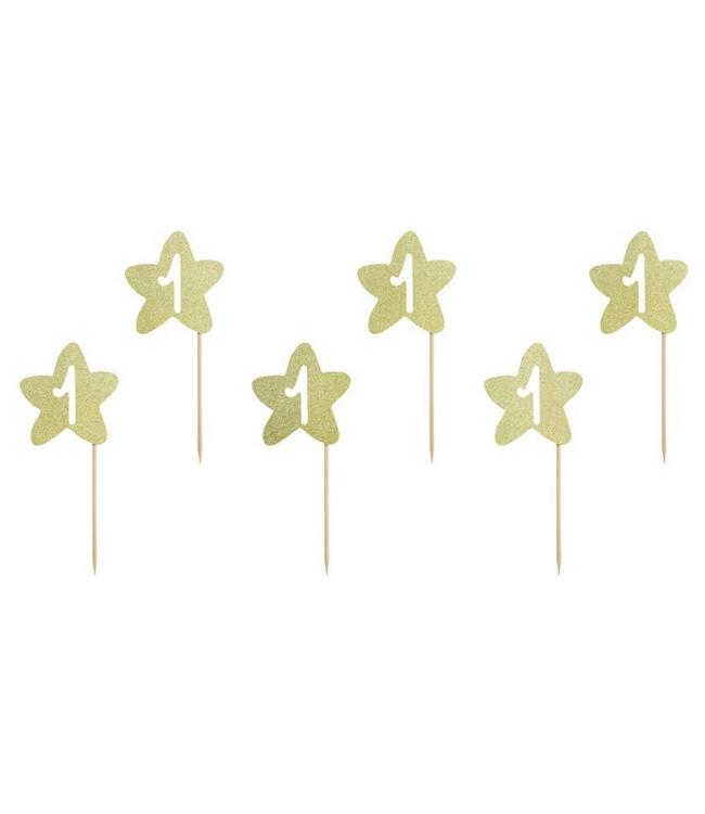 Partydeco ONEderful Toppers Ster Goud - 6 stuks - 10 cm