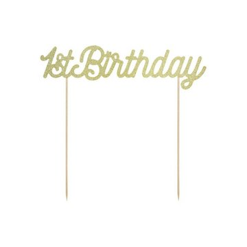 Partydeco ONEderful cake topper '1st Birthday' Goud - per stuk