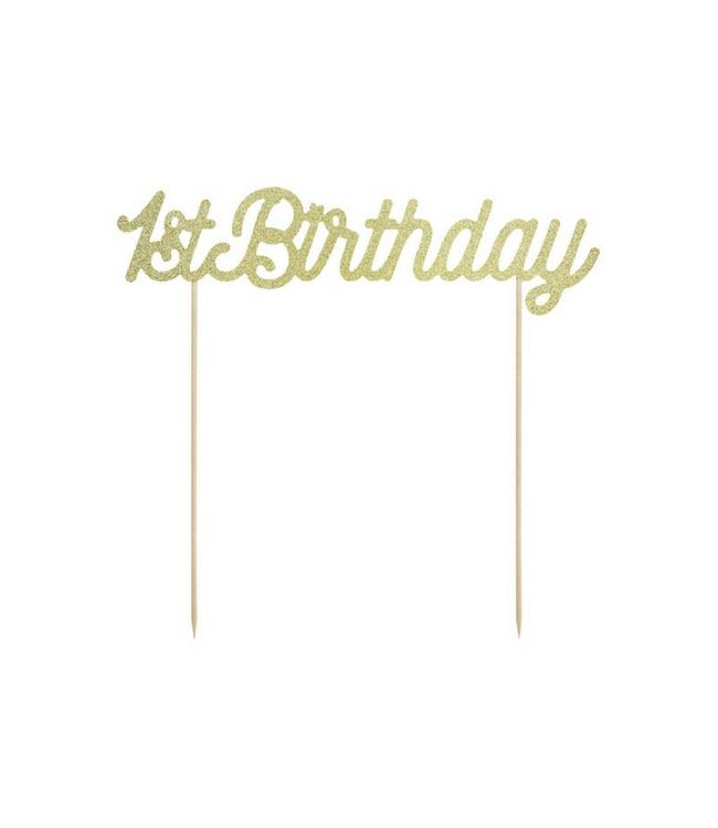 Partydeco ONEderful cake topper '1st Birthday' Goud - per stuk - Taart topper