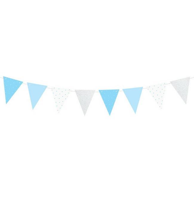 Partydeco ONEderful Vlaggenlijn Blauw & Zilver - per stuk