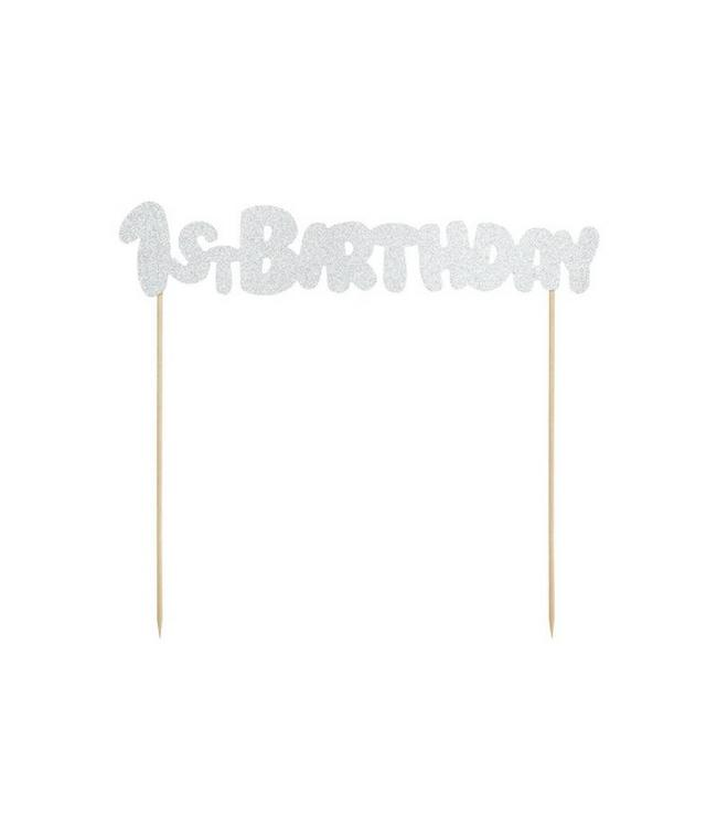 Partydeco ONEderful cake topper '1st Birthday' Zilver - per stuk - Taart topper