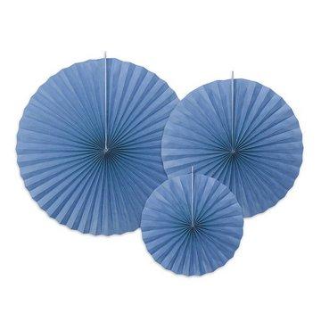 Partydeco Waaiers Blauw - 3 stuks - 3 maten