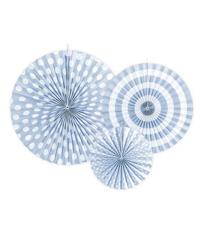 Partydeco Waaiers Lichtblauw met Prints - 3 stuks - 3 maten