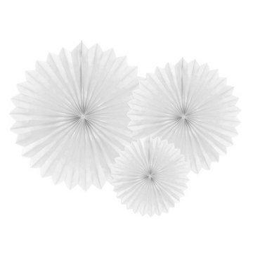 Partydeco Papieren Waaiers Wit - 3 stuks - 3 maten - Tissue Fans