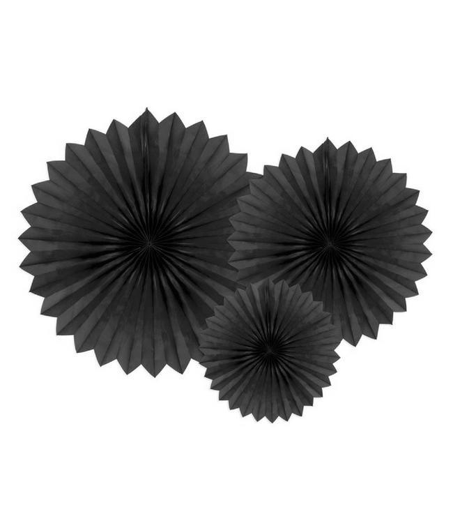 Partydeco Papieren Waaiers Zwart - 3 stuks - 3 maten - Tissue Fans