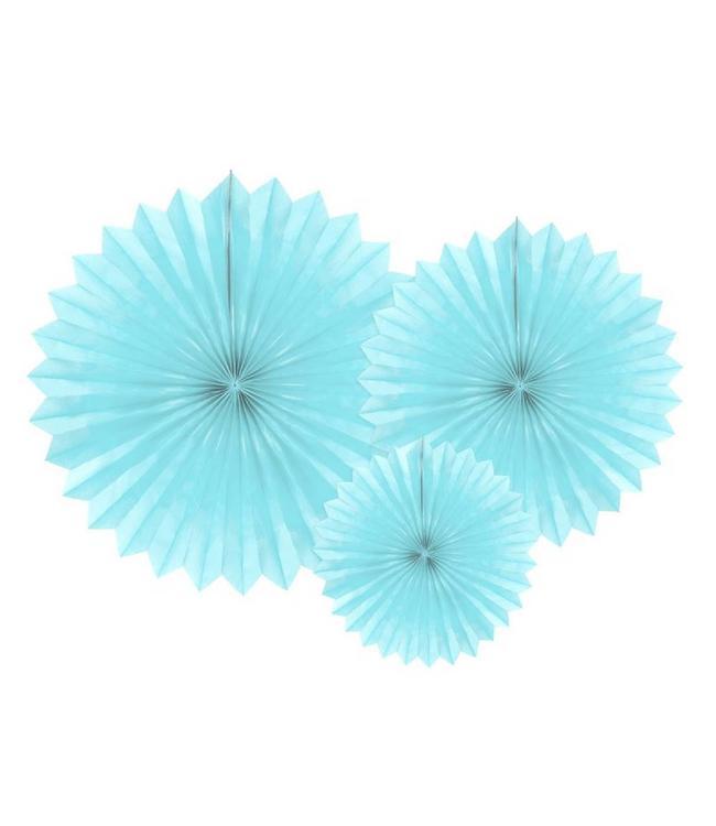 Partydeco Papieren Waaiers Lichtblauw - 3 stuks - 3 maten - Tissue Fans