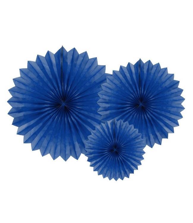 Partydeco Papieren Waaiers Donkerblauw - 3 stuks - 3 maten - Tissue Fans