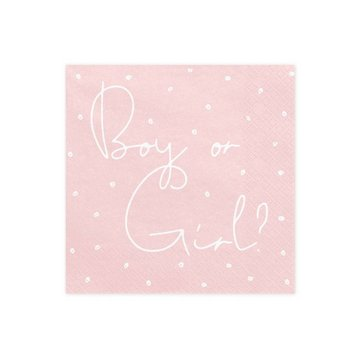 Partydeco Boy or Girl Servetten - 20 stuks - Baby gender reveal feestartikelen