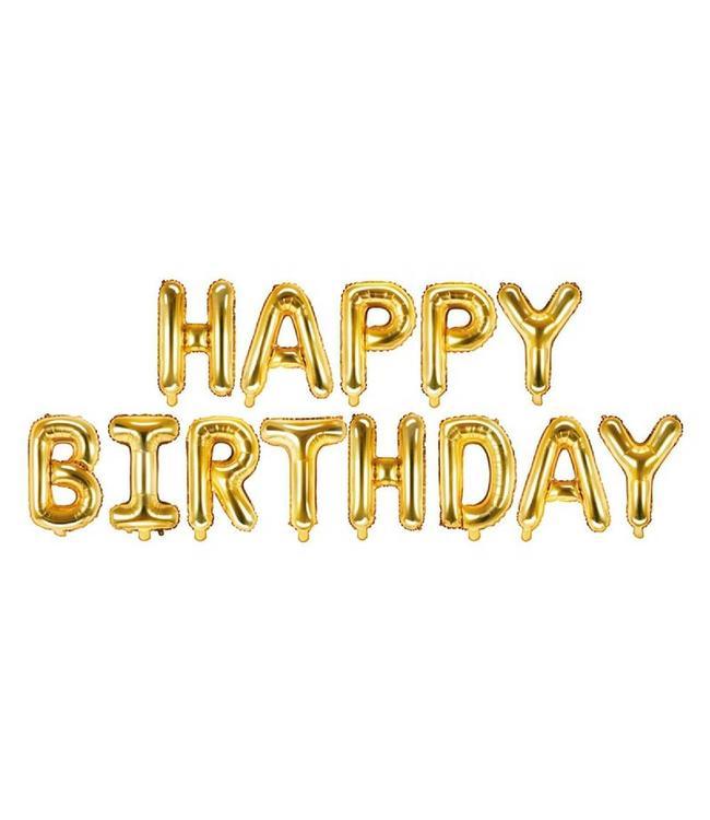 Partydeco Letter Folieballonnen 'Happy Birthday' Goud - per set