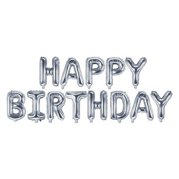 Partydeco Letter Folieballonnen 'Happy Birthday' Zilver - per set
