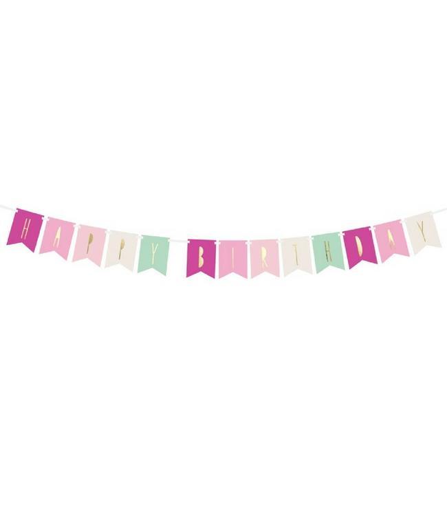 Partydeco Slinger 'Happy Birthday' Roze & Mint - per stuk - Verjaardagsslinger