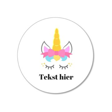 by Hieppp Stickers Unicorn - Rond - Personaliseer