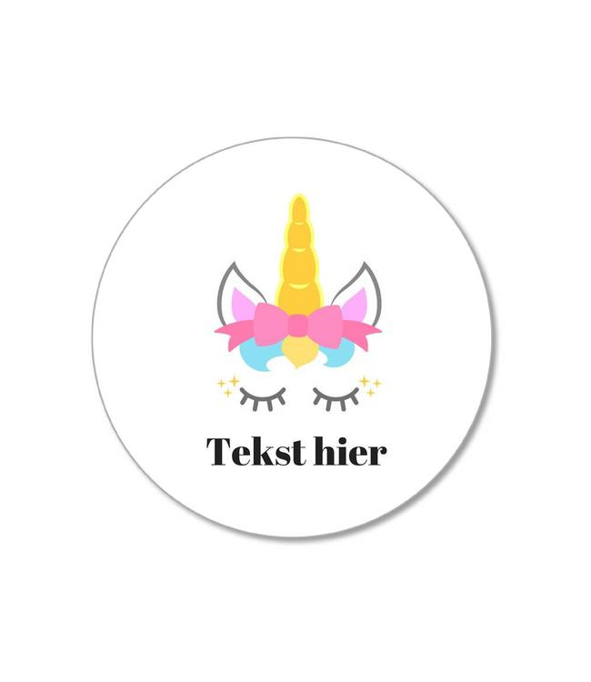by Hieppp Traktatie Stickers Unicorn - Rond - Personaliseer