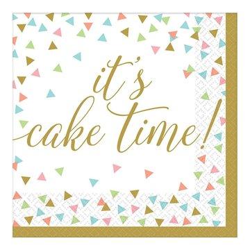 Amscan Servetten 'It's cake time!' - 36 stuks - 33 cm