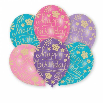 Amscan Floral 'Happy Birthday' Ballonnen - 6 stuks - 28 cm