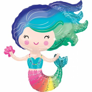 Amscan Zeemeermin Folieballon (Supershape) - 73 x 76 cm - Mermaid feestartikelen