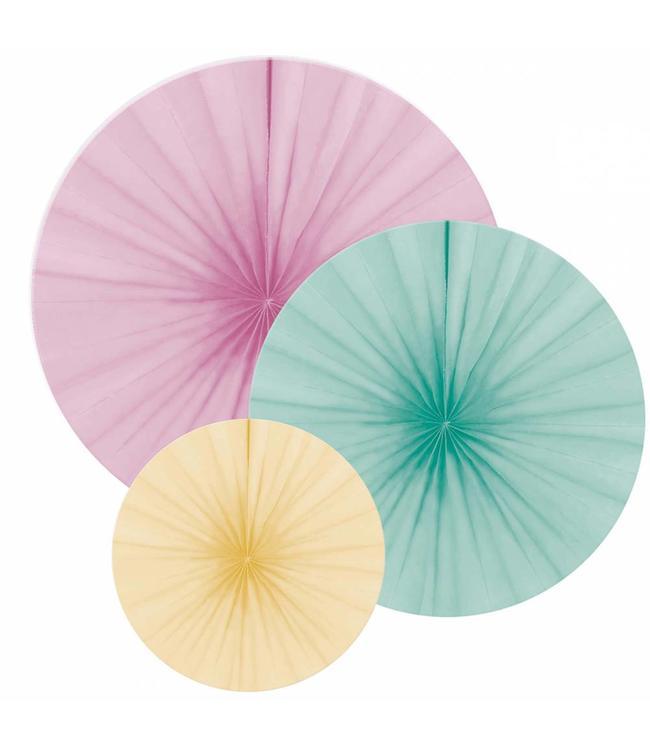 Amscan Papieren Waaiers Pastel - 3 stuks - 3 maten