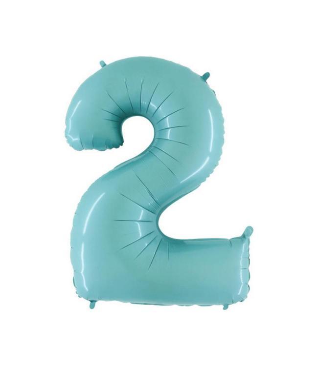 Grabo XL Cijfer 2 Folieballon Mint - 101 cm