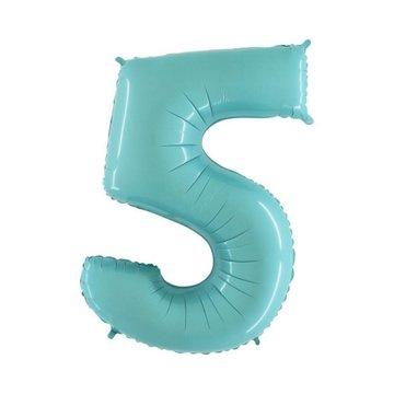 Sempertex XL Cijfer 5 Folieballon Mint - 101 cm