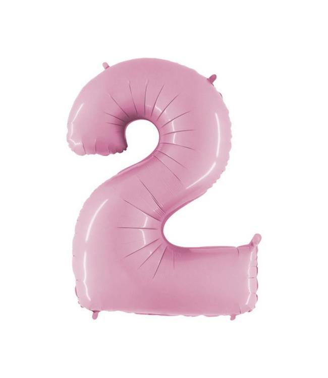 Grabo XL Cijfer 2 Folieballon Pastel Roze - 101 cm