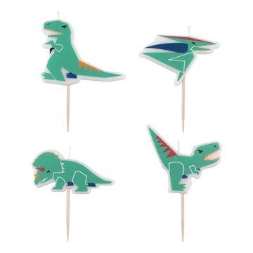 My Little Day Dinosaurus Kaarsjes - 4 stuks - Dino Feestartikelen
