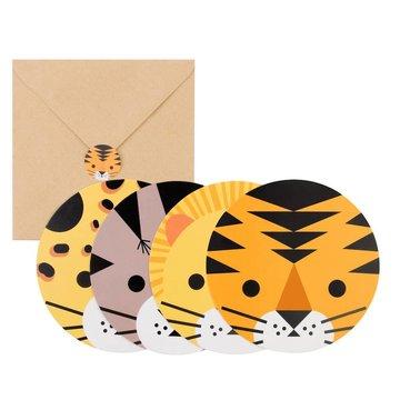 My Little Day Wilde Katten Uitnodigingen - 8 stuks - Mini Felines