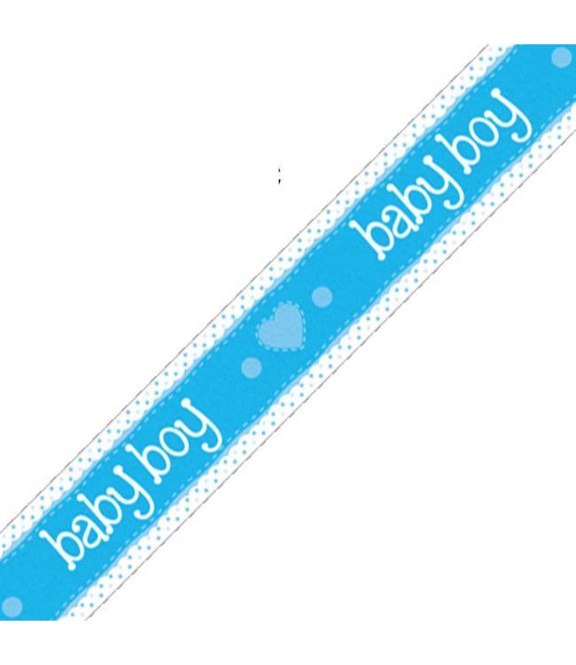 Oaktree Baby Boy Banner Dots & Hearts Blue (Holografisch) - per stuk - Geboorteversiering Blauw