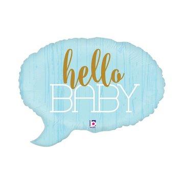 Betallic Tekstwolk 'Hello Baby' Folieballon (Blauw) - per stuk - 60 cm