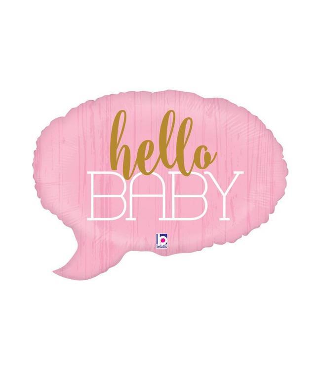 Betallic Tekstwolk 'Hello Baby' Folieballon (Roze) - per stuk - 60 cm