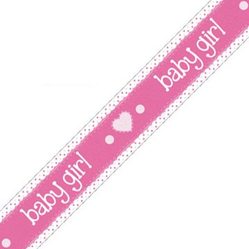 Oaktree Baby Girl Banner Dots & Hearts Pink (Holografisch) - per stuk