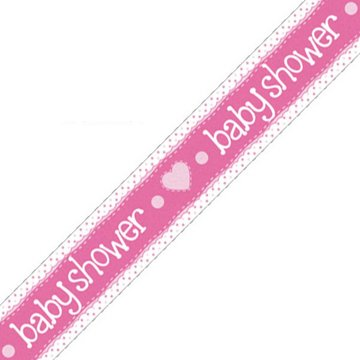 Oaktree Baby Shower Banner Dots & Hearts Pink (Holografisch) - per stuk