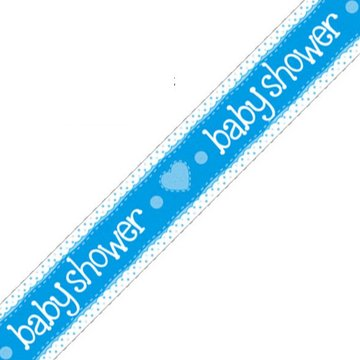 Oaktree Baby Shower Banner Dots & Hearts Blue (Holografisch) - per stuk
